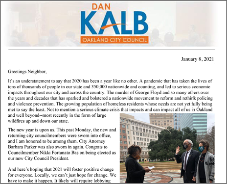 Message from Oakland City Council Dan Kalb following swearing in ceremony.