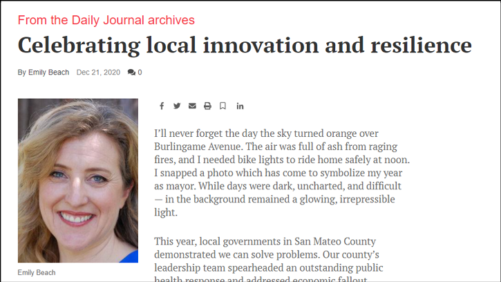 Burlingame Mayor Emily Beach celebrates the local innovation. Credit: The San Mateo Daily Journal