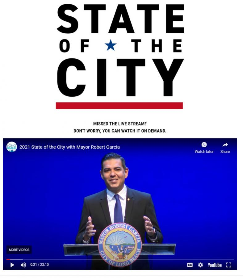 Long Beach Mayor Robert Garcia delivers state of the city remarks.