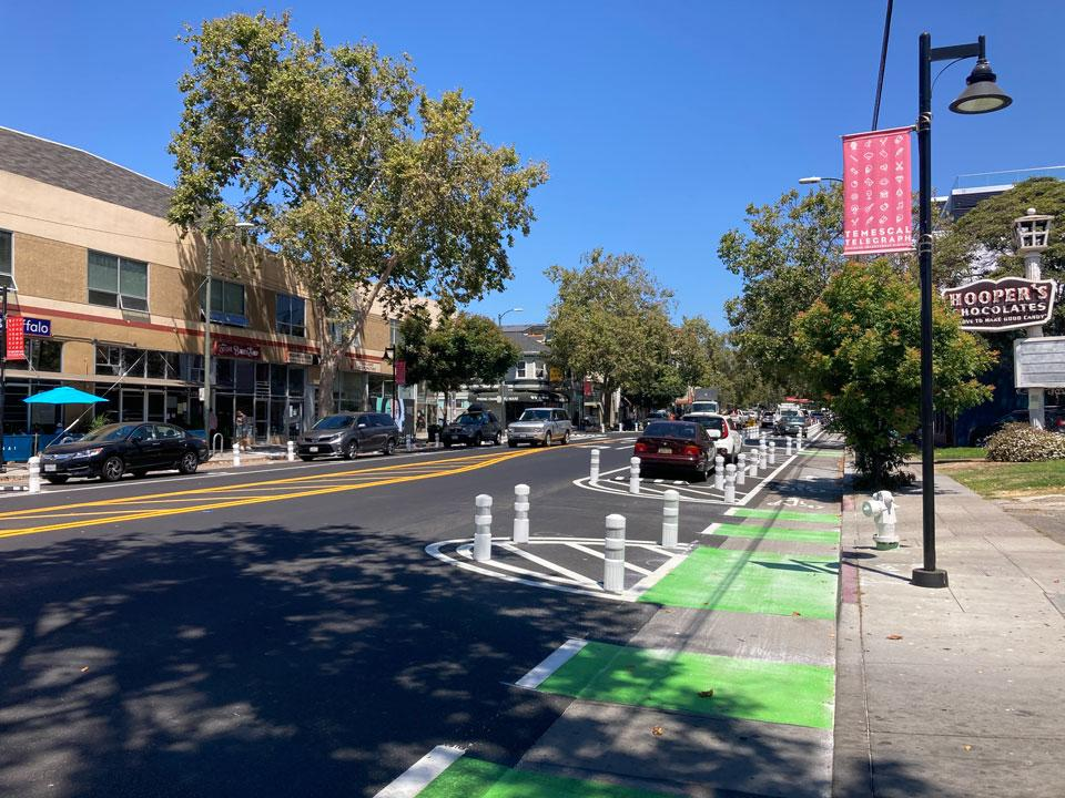 Telegraph Avenue, that begins in the historic downtown district of Oakland, is home to numerous businesses, shops, restaurants and residences, and sees heavy auto, bike and foot traffic daily, making it a center of community life.