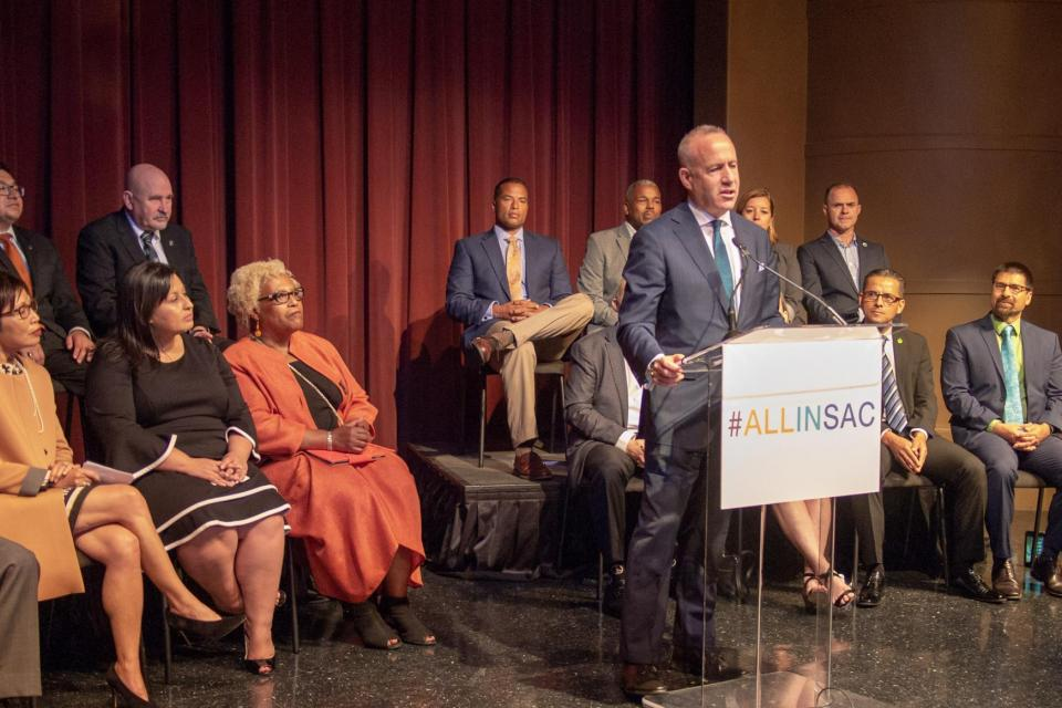 City of Sacramento Mayor Darrell Steinberg delivers speech about #ALLINSAC effort.