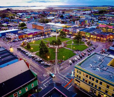 Aerial view of the city of Arcata, one of the 10 cities to participate in the 18-month BOOST Pilot Program designed to help California local governments advance climate and equity goals.